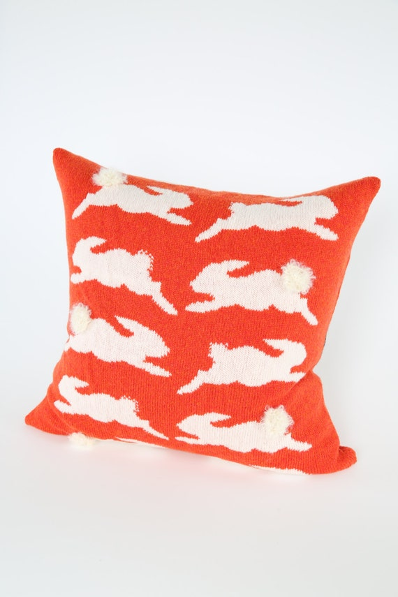 Knitted Bunny Cushion -Large Knitted Pillow -Rabbit Cushion -Orange & White Cushion - 50 x 50cm - Made in Scotland - Lambswool Cushion -Wool