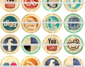 "Social Media Pins, Social Media Magnets, 1"" Inch Web Circles Flat Backs or Hollowbacks, Badges, Cupcake Pics, 12 ct"