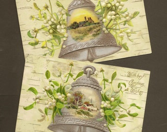Scenic Silver Bells With Mistletoe on Birch Bark Faux Bois Background – Pair of Vintage Christmas Postcards 1907