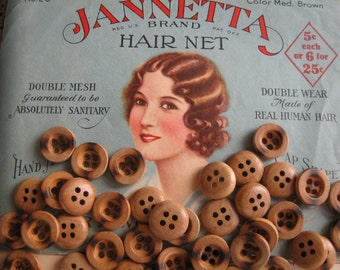 Simple Classic Wooden Buttons...new old stock...1940...lot/50