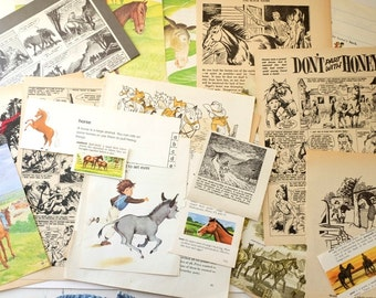 Horse-themed pack of VINTAGE BOOK PAGES - Plundered Pages