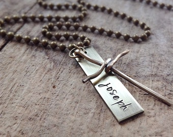 Personalized Hand Stamped Men's Name Necklace with Cross Charm, Antique Brass, Bohemian Jewelry, Personalized Gift