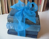 Blue Book Bundle Home Decor Gift Centerpiece 6 Vintage & Antique Books Recycle Read Collect