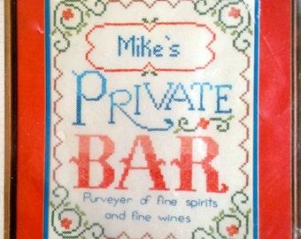 "Private Bar Stamped Counted Cross Stitch Kit – Bucilla Stitchery No. 49429 – 11"" x 14"""