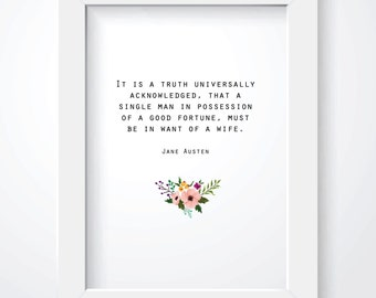 Pride and Prejudice Print. Instant Download. Jane Austen Quote. Typography Print. Black and White. 8 x 10. Digital Print.