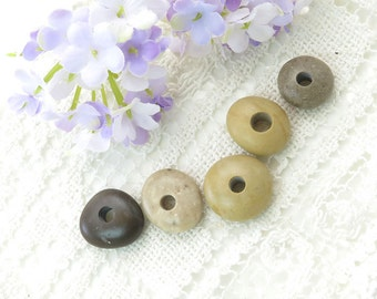 Center Drilled Pebbles - Special Beach Stones , Jewelry Supplies, Round Donut Pebbles 5 pcs