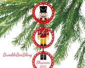 Personalized Holiday Nutcracker Bottle Cap Tree Ornament