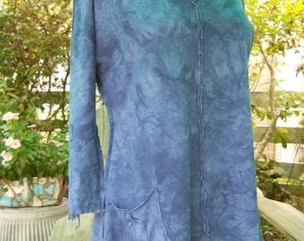 Raglan Tunic Indigo Hand Dyed Hemp & Organic Cotton Women's Available in 4 Sizes