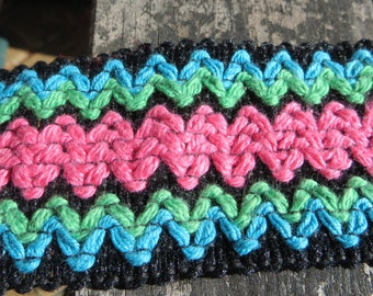 """26"""" of Wide Woven Vintage Trim Bright Pinks and Blues and Greens and Black"""