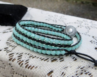 Chalky Minty Green Wrap Bracelet Faceted Glass Beaded Wrap Bracelet Triple Wrap Bracelet