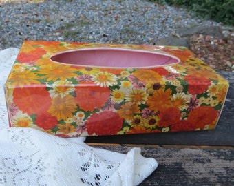 Plastic Vinyl Wrap Around Flower Power Vintage Tissue Cover Oranges and Yellows Mod and Groovy