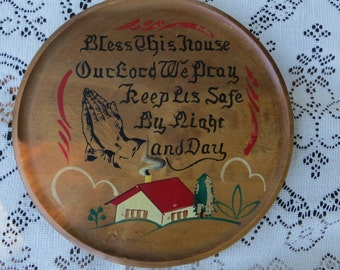 Wood Wall Hanging Trivet Religious Saying Bless This House Round and Painted