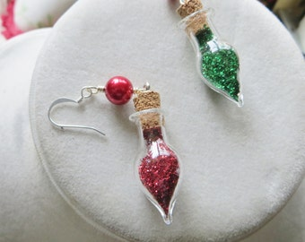 Christmas Holiday Earrings Little Bottles of Glitter Handmade Jewelry