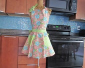 Coral Turquoise Flowers Apron with Green Contrast, Coral Floral Apron, Coral Floral Apron with Green Contrast, Womens Coral Floral Apron