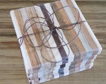 Reclaimed Wood Coaster Set Wood Trivet Set Hostess Gift Candle Holder