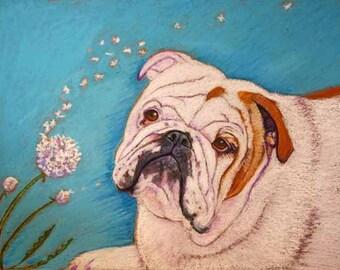 English Bulldog painting art painting dandelion english bulldog ORIGINAL Oil Pastel Dog Art