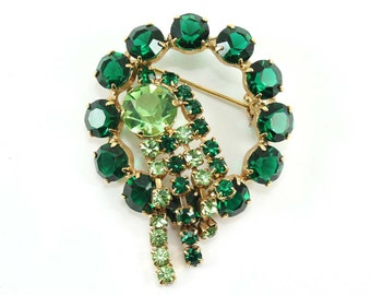 Vintage Emerald and Peridot Rhinestone Dangle Brooch
