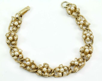 Signed FLORENZA Faux Pearl Chain Link Bracelet