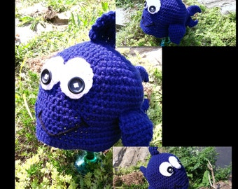 Crocheted Navy Blue Fish Hat Photo Prop Newborn to Adult Custom Colors