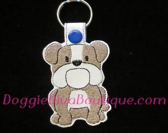 English Bulldog, Bully Dog Key Fob, Key Chain