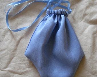 Regency Reticule,Bag. Victorian. Jane Austen. French Blue Silk