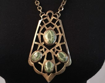 Unique and Unusual 70's Gold Art Deco Pendant Necklace with Green Fossil Beads