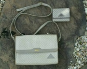 Liz Claiborne vintage 1980s leather cross body purse and matching wallet