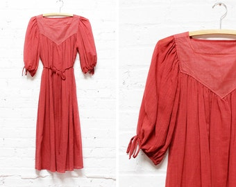 Sangria Gauze Dress • 70s Red Peasant Dress • Sheer Dress | D380