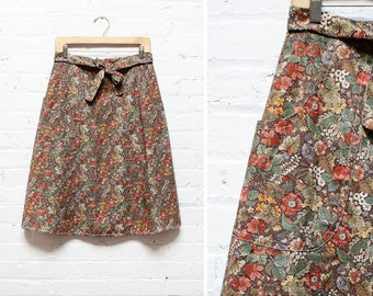 Floral Wrap Skirt • Cotton Flared Skirt with Pockets • Autumn Floral | SK280