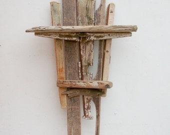 Driftwood Wall Shelf,Drift wood Shelves,Large,painted fishing Boat Wood Wall Art, Driftwood Wall Sculpture,Flotsam and Jetsam Wall Art