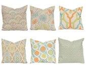 Pillow Covers, Fall Pillow Covers, Linen Pillows, Throw Pillow Covers, Decorative Pillow Covers, Orange Pillows, Orange Aqua, Sofa Pillows