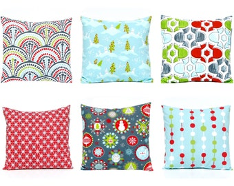 Christmas Pillow Covers - Holiday Pillow Covers, Red and Aqua, Christmas Decor, Holiday Decor, Christmas Cushion Covers, Throw Pillow Covers