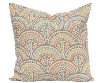 Linen Pillow Covers - Aqua and Orange - Throw Pillow Covers - Decorative Pillow Covers - Orange Pillows - Orange Aqua - Sofa Pillow Cover