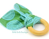 All Natural Wood Baby Teething Ring- Blossoming Hypnotize Aqua Turquoise Blue Green - Great Gender Neutral, Shower Gift