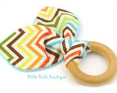All Natural Wood Baby Teething Ring- Brown Orange Turquoise Remix Chevron Ann Kelle - Great Gender Neutral, Shower Gift