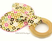 All Natural Wood Baby Teething Ring- Mini Pink Green Brown Flowers - Great Shower Gift