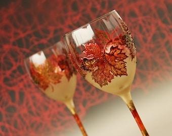 Maple Leaves Glasses, Autumn Leaves Glasses, Fall Wedding Glasses, Hand Painted, Set of 2