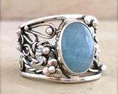 Sterling silver one of a kind filigree ring with Aquamarine cabochon size 8 SALE 20% OFF
