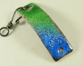 Blue and Green Enameled Bracelet Bar Clasp with Black Wire Hook