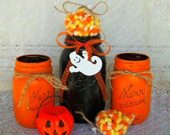 3 Halloween Mason Jars in Orange and Black with Distressed Faux Finish