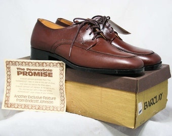 Men's Size 10 Shoes - 1960s Brown Leather Mens Oxfords - 10D - Barclay - 60's Classic Dress Shoe - Original Box - 60s Deadstock - 43987-1