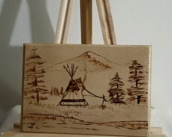 Wood Burned Plaque ( Painted Lodge )-Wall Hanging-Wall Art-Cabin Art-