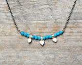 Turquoise Bar Necklace - 14k Gold and Sterling Silver Petal Necklace