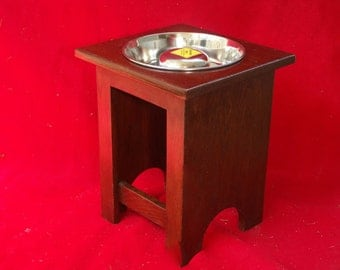 Elevated Large Dog Feeder, Single 6 Cup Slow Feed Bowl, 18 Inchs High, Solid Oak,