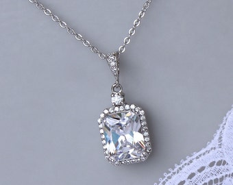Square Crystal Necklace, Crystal Bridal Necklace, Radiant Cut Pendant Necklace, Silver Bridal Jewelry,  EMILIA