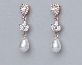 Rose Gold Pearl Earrings, Pearl Drop Bridal Earrings, Rose Gold Wedding Earrings, CLIP On Option,   HAYLEY P