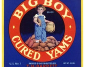 1940s Big Boy in Overalls Yams Pittsburg Texas Original Vintage Vegetable Crate Label