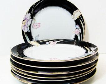 Mikasa China - Charisma Black 7 1/2 inch Salad Plate - Vintage China