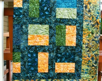 Contemporary Quilts-Blues Greens-Modern Quilts-Quilted Throws-Handmade