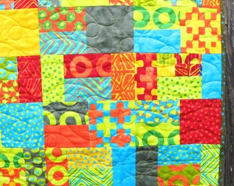 Contemporary Quilt-Bright Colors-Handmade Quilt-Modern